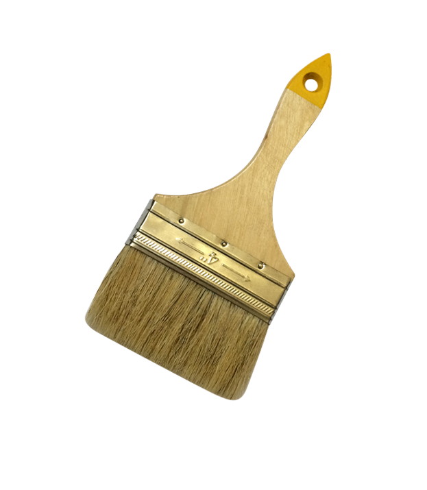 Flat brush with white natural bristle